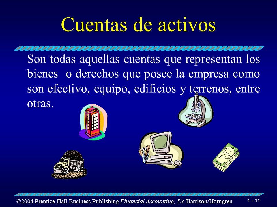 ©2004 Prentice Hall Business Publishing Financial Accounting, 5/e Harrison/Horngren 1 - 10 Clasificación de las cuentas Las cuentas se clasifican en c