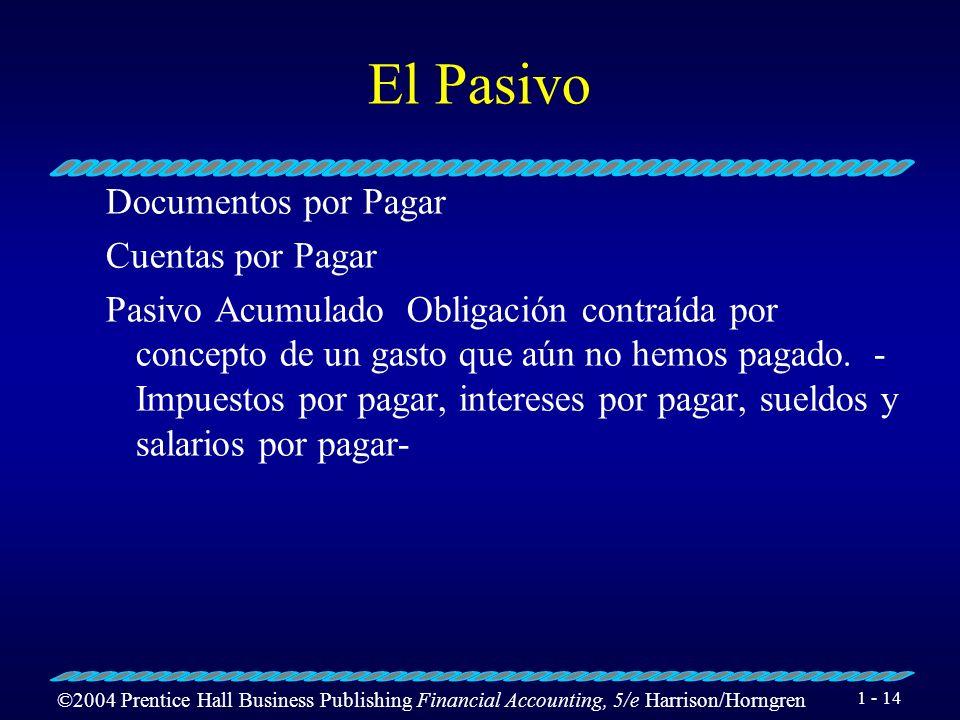 ©2004 Prentice Hall Business Publishing Financial Accounting, 5/e Harrison/Horngren 1 - 13 Cuentas de pasivos Son las que representan deudas u obligac