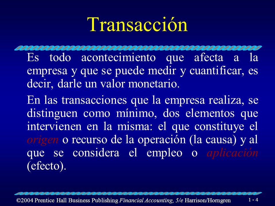 ©2004 Prentice Hall Business Publishing Financial Accounting, 5/e Harrison/Horngren 1 - 3 Registro de las Transacciones de un Negocio