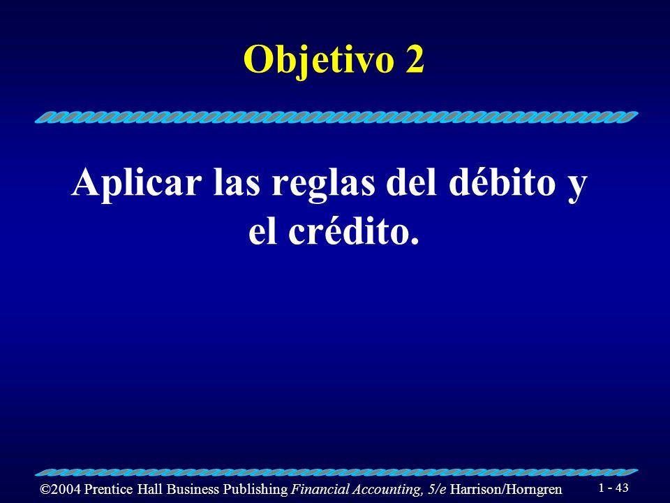©2004 Prentice Hall Business Publishing Financial Accounting, 5/e Harrison/Horngren 1 - 42 T-Contable Nombre de la cuenta Débito Crédito Lado Derecho