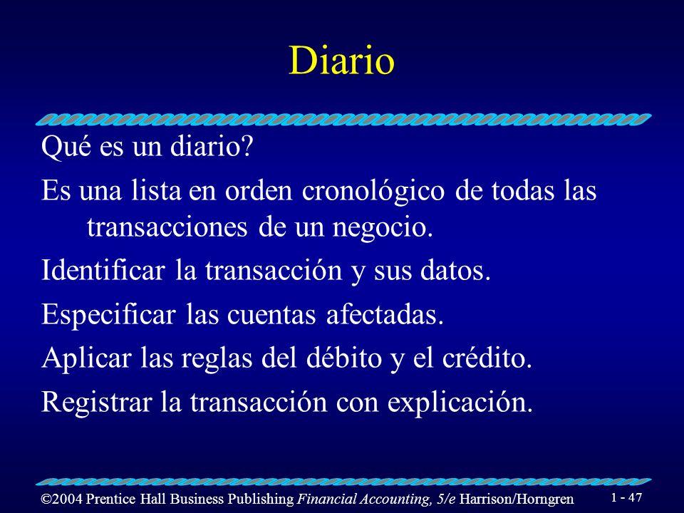 ©2004 Prentice Hall Business Publishing Financial Accounting, 5/e Harrison/Horngren 1 - 46 Registrar transacciones en el Diario. Objetivo 3