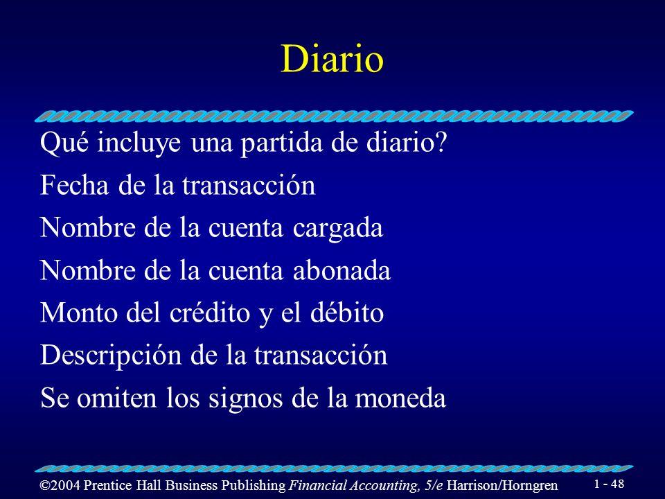 ©2004 Prentice Hall Business Publishing Financial Accounting, 5/e Harrison/Horngren 1 - 47 Diario Qué es un diario? Es una lista en orden cronológico