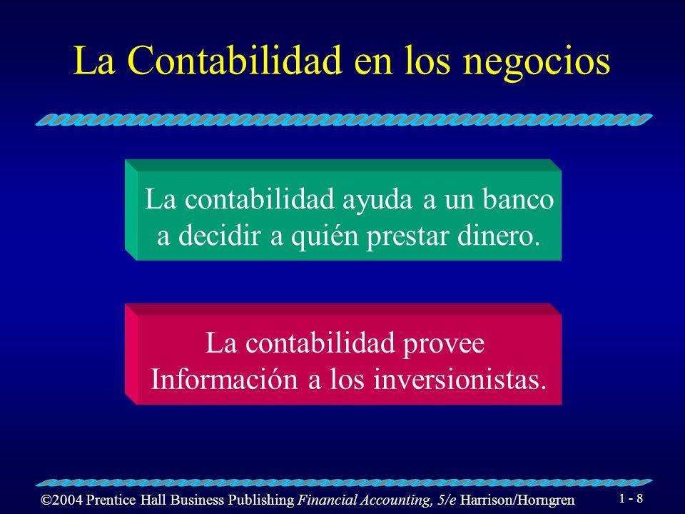 ©2004 Prentice Hall Business Publishing Financial Accounting, 5/e Harrison/Horngren 1 - 9 El Flujo de la Información Contable 3.