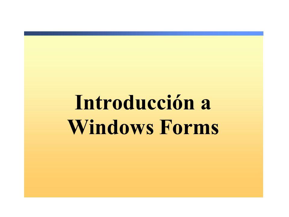 Descripción Crear un formulario Añadir controles a un formulario Crear un formulario heredado Organizar controles en un formulario Crear aplicaciones MDI