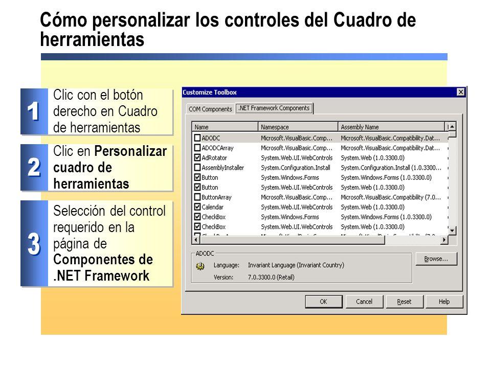 Cómo personalizar los controles del Cuadro de herramientas Clic con el botón derecho en Cuadro de herramientas Clic en Personalizar cuadro de herramie