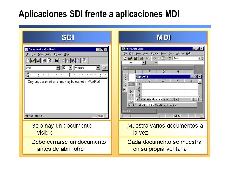 Aplicaciones SDI frente a aplicaciones MDI SDISDI Sólo hay un documento visible Debe cerrarse un documento antes de abrir otro MDIMDI Muestra varios d