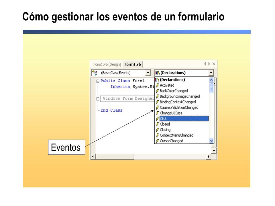 Cómo gestionar los eventos de un formulario Eventos
