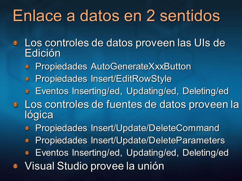 Enlace a datos en 2 sentidos Los controles de datos proveen las UIs de Edición Propiedades AutoGenerateXxxButton Propiedades Insert/EditRowStyle Event