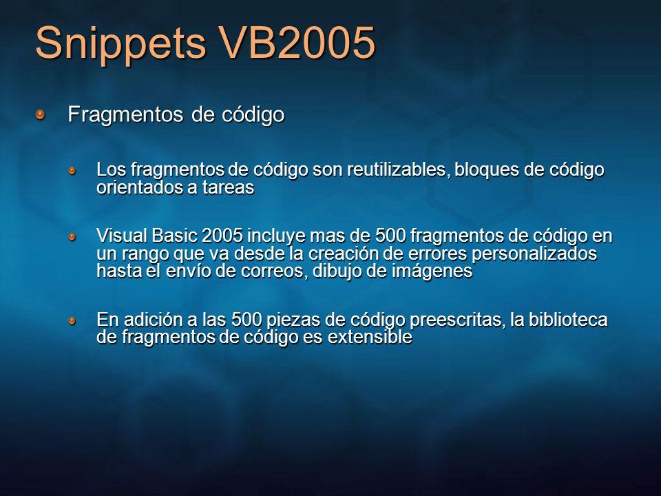 Snippets VB2005 Fragmentos de código Los fragmentos de código son reutilizables, bloques de código orientados a tareas Visual Basic 2005 incluye mas d