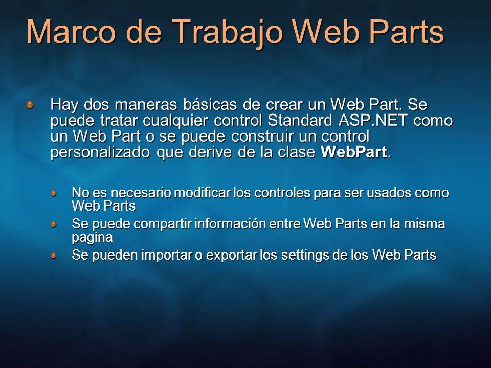 Marco de Trabajo Web Parts Hay dos maneras básicas de crear un Web Part. Se puede tratar cualquier control Standard ASP.NET como un Web Part o se pued