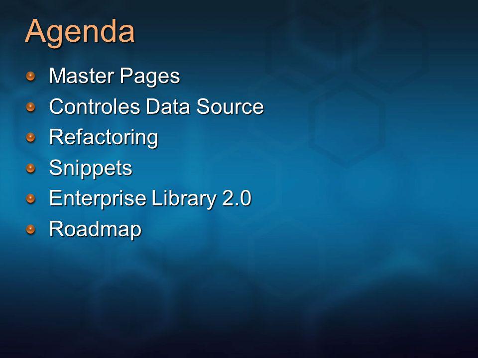 Nuevas caracteristicas de ASP.NET 2.0 Controles Page Framework Servicios y APIs Controles Data Controles Login Web Parts Otros nuevos controles Paginas Maestras Themes y Skins Mejora Scripting del cliente Compilación y Localización Membresía Administración De Roles PerfilesConfiguración Mapas de SitioMonitoreo Otros nuevos servicios