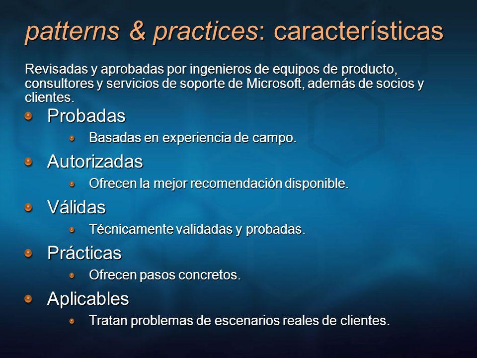 patterns & practices: características Probadas Basadas en experiencia de campo. Autorizadas Ofrecen la mejor recomendación disponible. Válidas Técnica