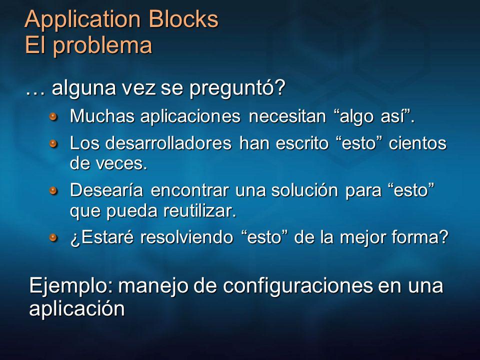 Application Blocks El problema … alguna vez se preguntó? Muchas aplicaciones necesitan algo así. Los desarrolladores han escrito esto cientos de veces