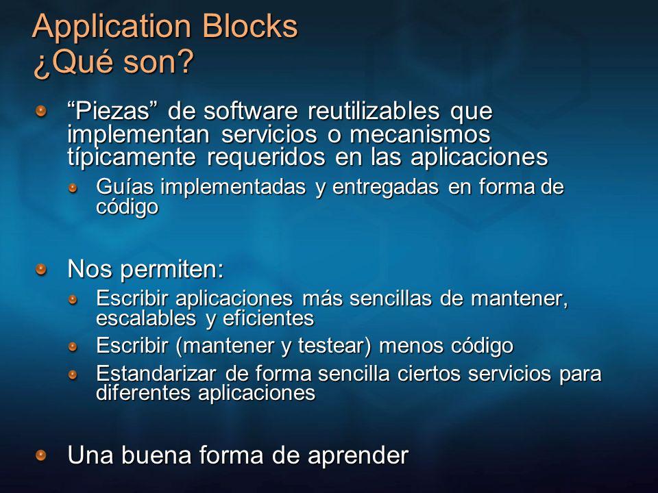 Application Blocks ¿Qué son? Piezas de software reutilizables que implementan servicios o mecanismos típicamente requeridos en las aplicaciones Guías