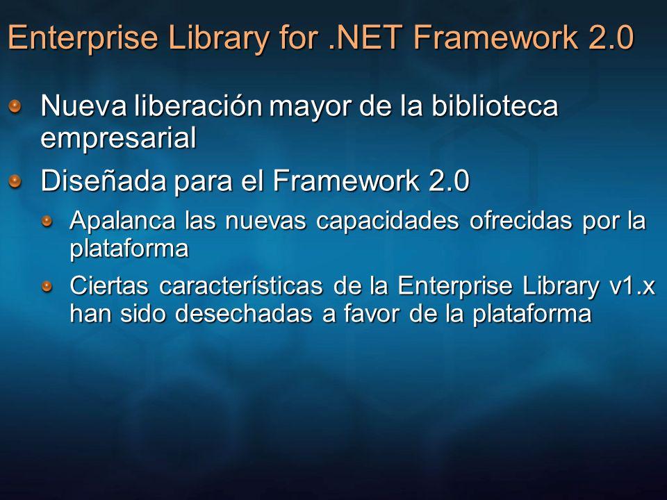 Enterprise Library for.NET Framework 2.0 Nueva liberación mayor de la biblioteca empresarial Diseñada para el Framework 2.0 Apalanca las nuevas capaci
