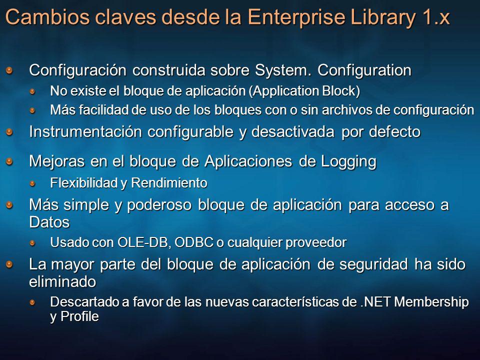Cambios claves desde la Enterprise Library 1.x Configuración construida sobre System. Configuration No existe el bloque de aplicación (Application Blo