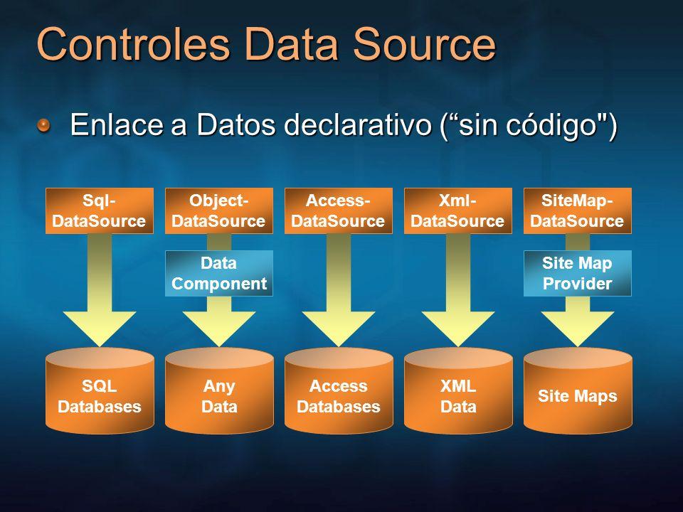 Controles de Datos Nuevos controles de enlace a Datos Soporte integrado para seleccionar, edición, paginación, ordenamiento y más Vista GridVista DetalleVista Forma