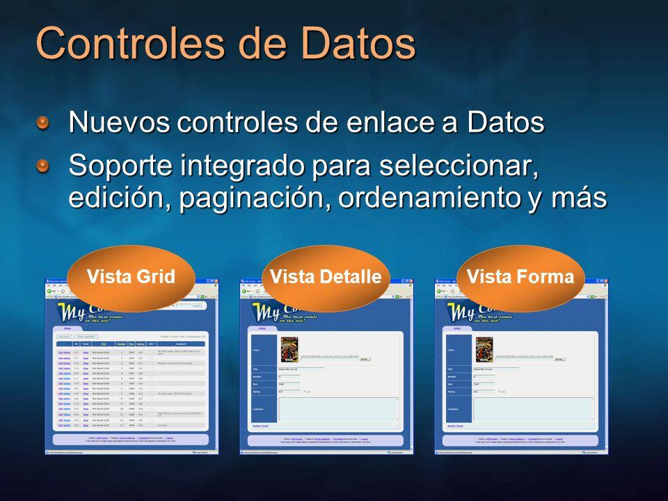 Enlace a datos en 2 sentidos Los controles de datos proveen las UIs de Edición Propiedades AutoGenerateXxxButton Propiedades Insert/EditRowStyle Eventos Inserting/ed, Updating/ed, Deleting/ed Los controles de fuentes de datos proveen la lógica Propiedades Insert/Update/DeleteCommand Propiedades Insert/Update/DeleteParameters Eventos Inserting/ed, Updating/ed, Deleting/ed Visual Studio provee la unión