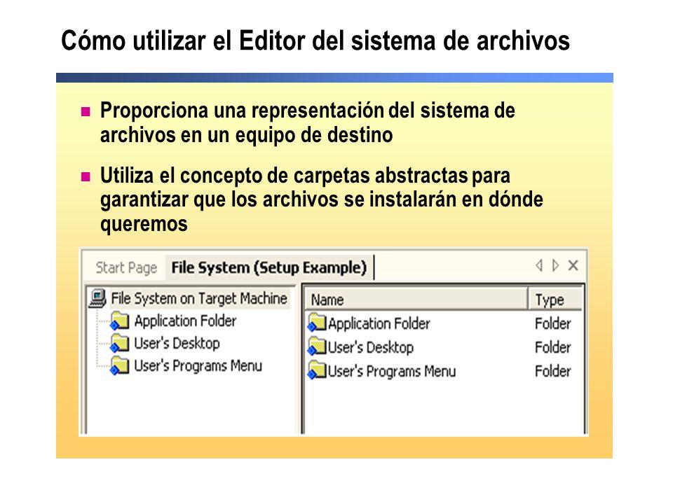 Cómo utilizar el Editor del sistema de archivos Proporciona una representación del sistema de archivos en un equipo de destino Utiliza el concepto de carpetas abstractas para garantizar que los archivos se instalarán en dónde queremos