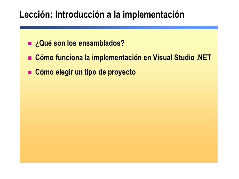 Lección: Introducción a la implementación ¿Qué son los ensamblados? Cómo funciona la implementación en Visual Studio.NET Cómo elegir un tipo de proyec