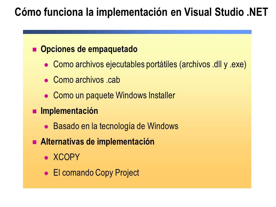 Cómo funciona la implementación en Visual Studio.NET Opciones de empaquetado Como archivos ejecutables portátiles (archivos.dll y.exe) Como archivos.cab Como un paquete Windows Installer Implementación Basado en la tecnología de Windows Alternativas de implementación XCOPY El comando Copy Project