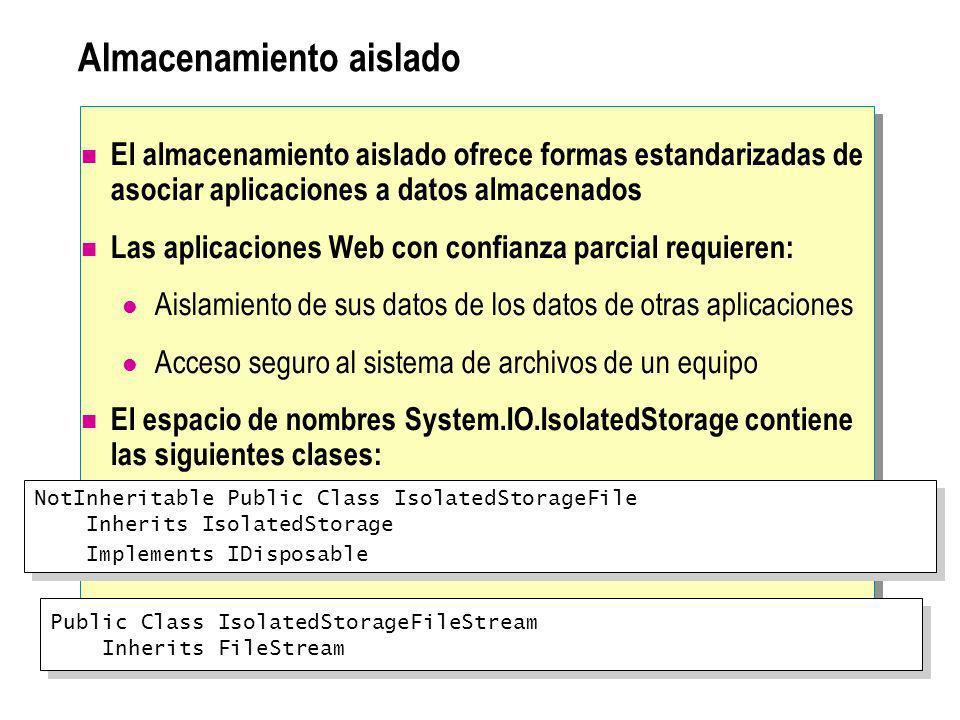 Almacenamiento aislado El almacenamiento aislado ofrece formas estandarizadas de asociar aplicaciones a datos almacenados Las aplicaciones Web con con