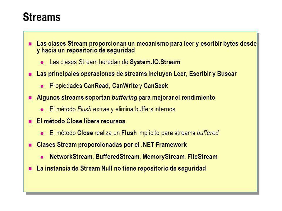Streams Las clases Stream proporcionan un mecanismo para leer y escribir bytes desde y hacia un repositorio de seguridad Las clases Stream heredan de System.IO.Stream Las principales operaciones de streams incluyen Leer, Escribir y Buscar Propiedades CanRead, CanWrite y CanSeek Algunos streams soportan buffering para mejorar el rendimiento El método Flush extrae y elimina buffers internos El método Close libera recursos El método Close realiza un Flush implícito para streams buffered Clases Stream proporcionadas por el.NET Framework NetworkStream, BufferedStream, MemoryStream, FileStream La instancia de Stream Null no tiene repositorio de seguridad