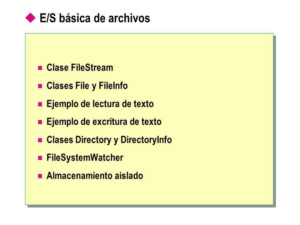 E/S básica de archivos Clase FileStream Clases File y FileInfo Ejemplo de lectura de texto Ejemplo de excritura de texto Clases Directory y DirectoryInfo FileSystemWatcher Almacenamiento aislado