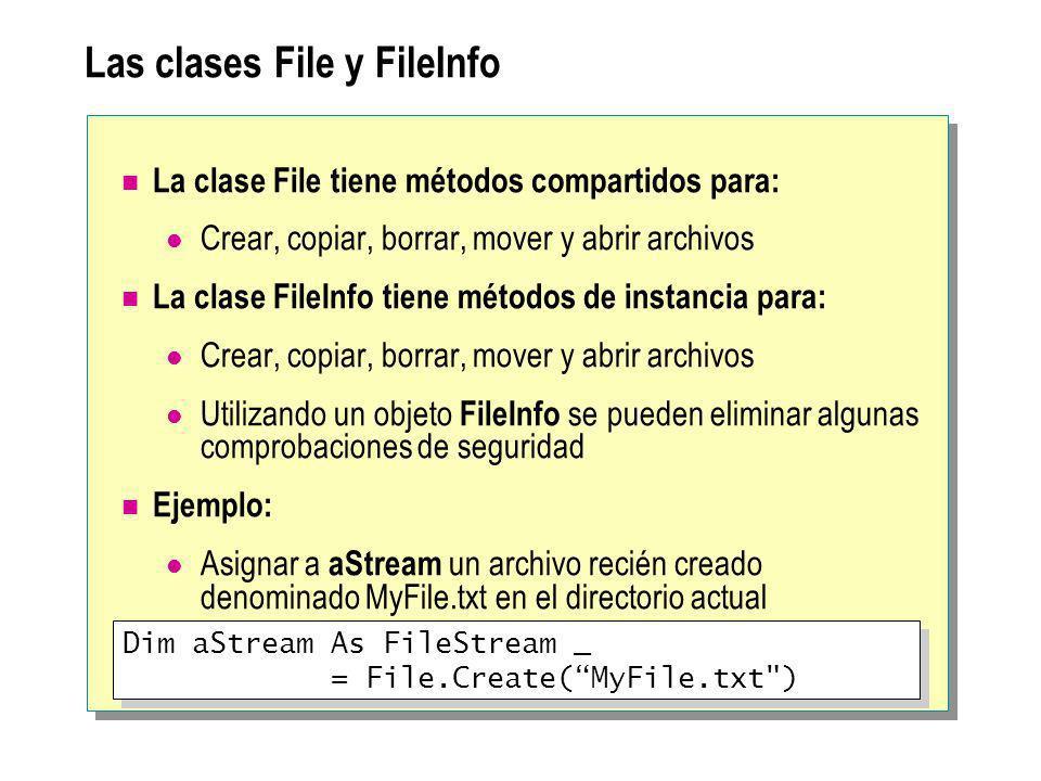 Las clases File y FileInfo La clase File tiene métodos compartidos para: Crear, copiar, borrar, mover y abrir archivos La clase FileInfo tiene métodos de instancia para: Crear, copiar, borrar, mover y abrir archivos Utilizando un objeto FileInfo se pueden eliminar algunas comprobaciones de seguridad Ejemplo: Asignar a aStream un archivo recién creado denominado MyFile.txt en el directorio actual Dim aStream As FileStream _ = File.Create(MyFile.txt ) Dim aStream As FileStream _ = File.Create(MyFile.txt )