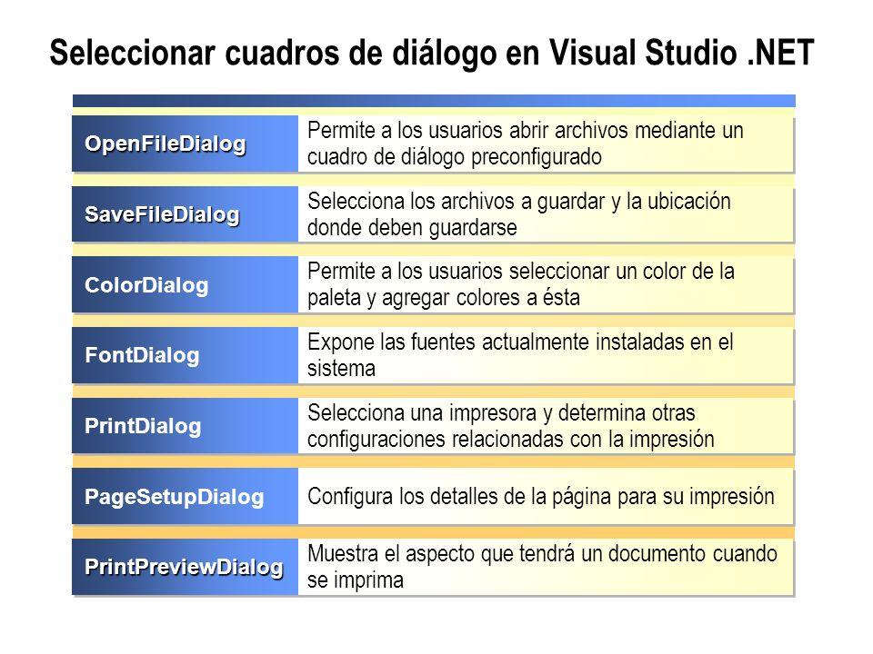 Seleccionar cuadros de diálogo en Visual Studio.NET PrintPreviewDialogPrintPreviewDialog Muestra el aspecto que tendrá un documento cuando se imprima
