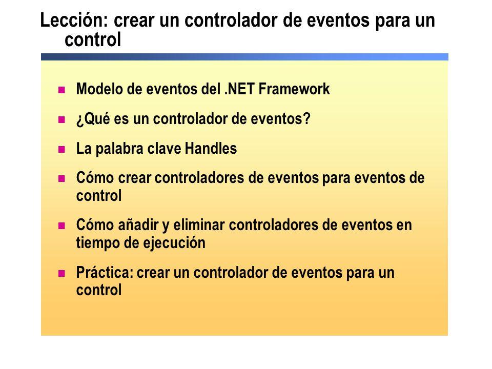 Modelo de eventos del.NET Framework Button1 Private Sub Button1_Click(ByVal Sender As System.Object, ByVal e As System.EventArgs) Handles Button1.Click Invoca el delegado DelegadoDelegado Private Sub Button1_Click(ByVal Sender As System.Object, ByVal e As System.EventArgs) Handles Button1.Click El delegado invoca el procedimiento asociado