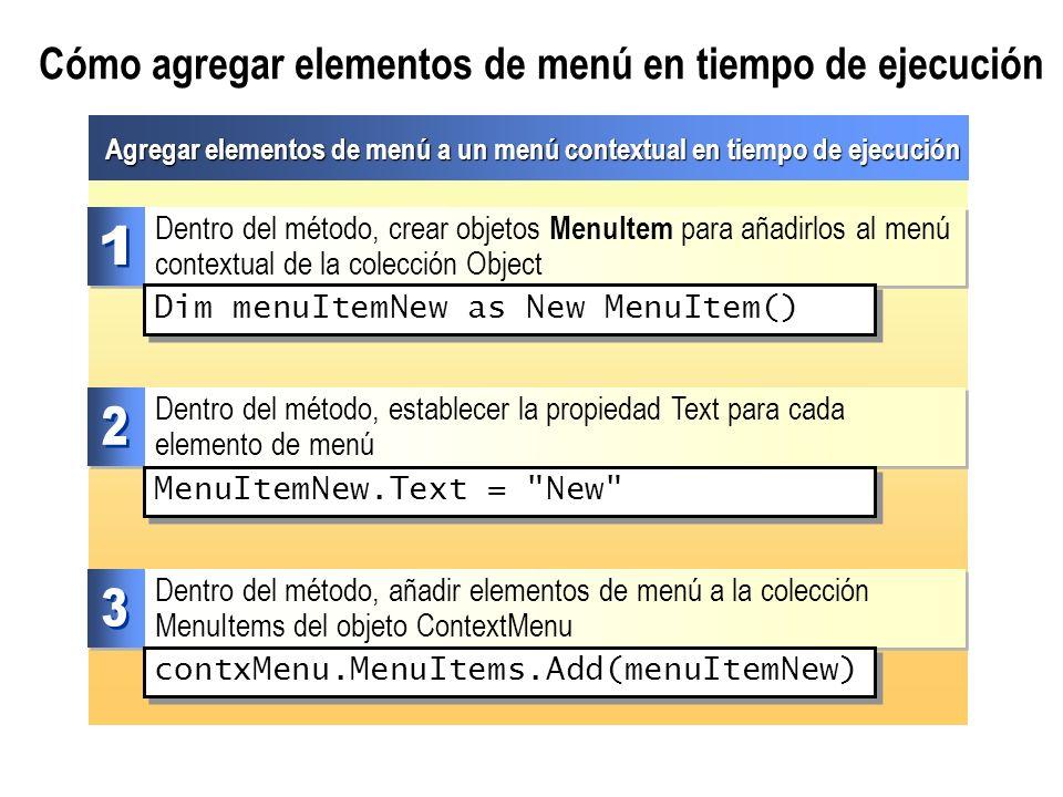 Cómo agregar elementos de menú en tiempo de ejecución Agregar elementos de menú a un menú contextual en tiempo de ejecución Dentro del método, añadir