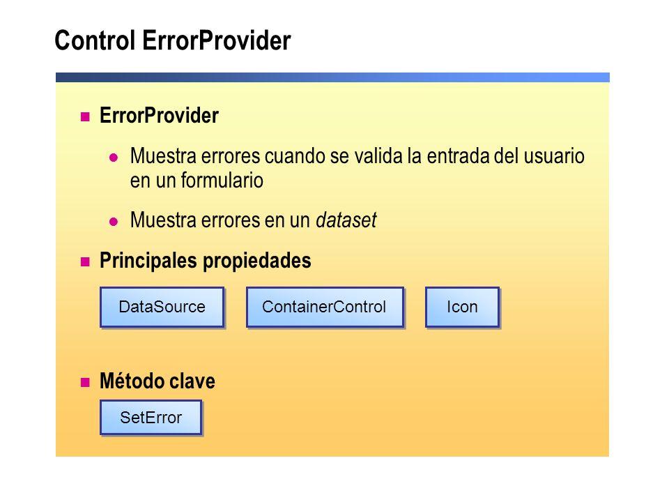 Control ErrorProvider ErrorProvider Muestra errores cuando se valida la entrada del usuario en un formulario Muestra errores en un dataset Principales