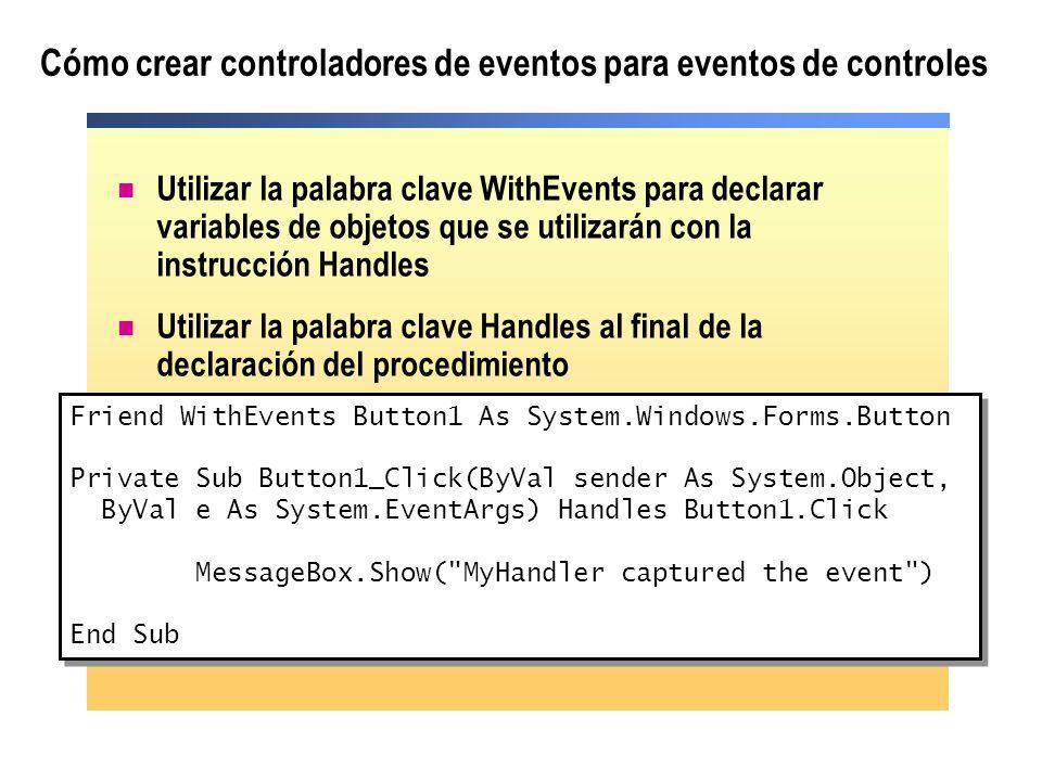Cómo añadir y eliminar controladores de eventos en tiempo de ejecución Para asociar un evento a un controlador de eventos en tiempo de ejecución, utilizar la instrucción AddHandler Para eliminar la asociación de un evento a un controlador de eventos en tiempo de ejecución, utilizar la instrucción RemoveHandler RemoveHandler Button3.Click, AddressOf Process1 AddHandler Button3.Click, AddressOf Process1 El evento que desea controlar La rutina que desea utilizar para controlar el evento