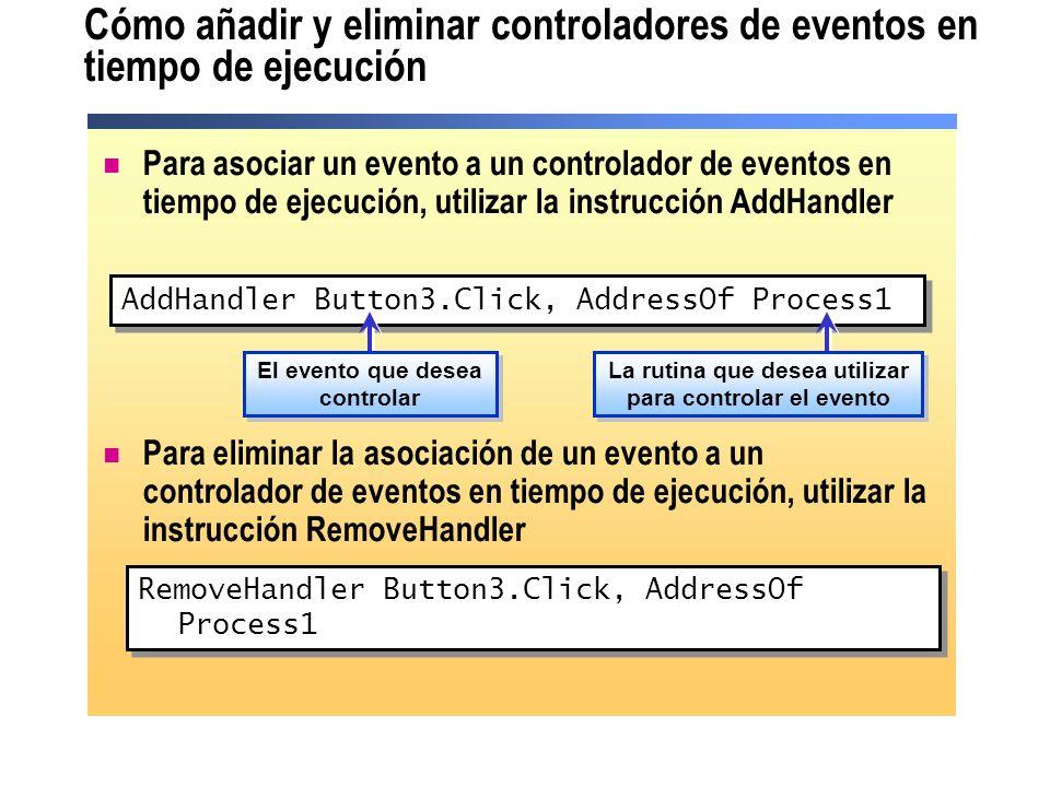 Cómo añadir y eliminar controladores de eventos en tiempo de ejecución Para asociar un evento a un controlador de eventos en tiempo de ejecución, util