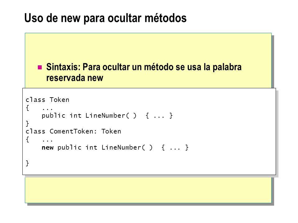 Uso de new para ocultar métodos Sintaxis: Para ocultar un método se usa la palabra reservada new class Token {... public int LineNumber( ) {... } } cl