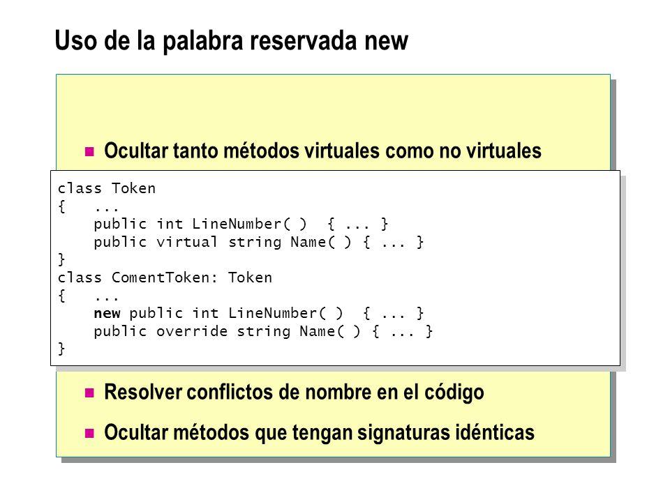Uso de la palabra reservada new Ocultar tanto métodos virtuales como no virtuales Resolver conflictos de nombre en el código Ocultar métodos que tenga