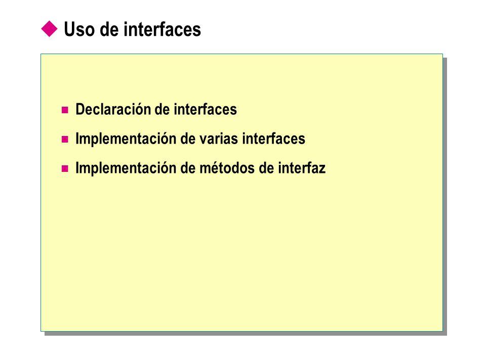 Uso de interfaces Declaración de interfaces Implementación de varias interfaces Implementación de métodos de interfaz