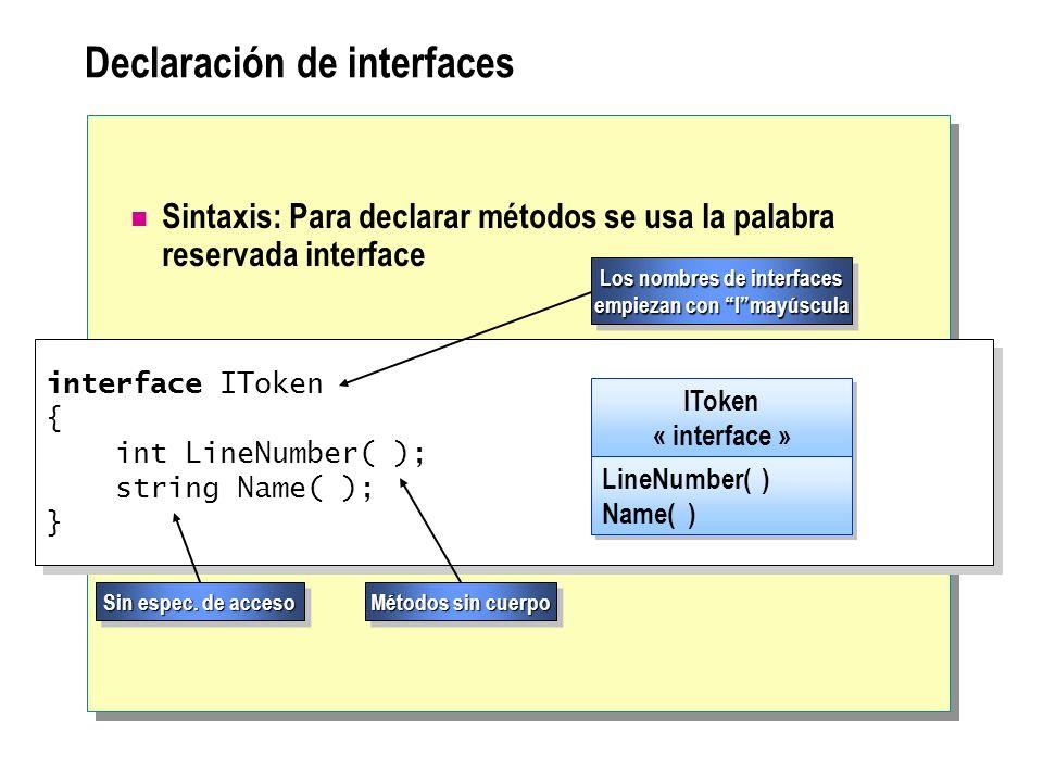 Declaración de interfaces Sintaxis: Para declarar métodos se usa la palabra reservada interface interface IToken { int LineNumber( ); string Name( );