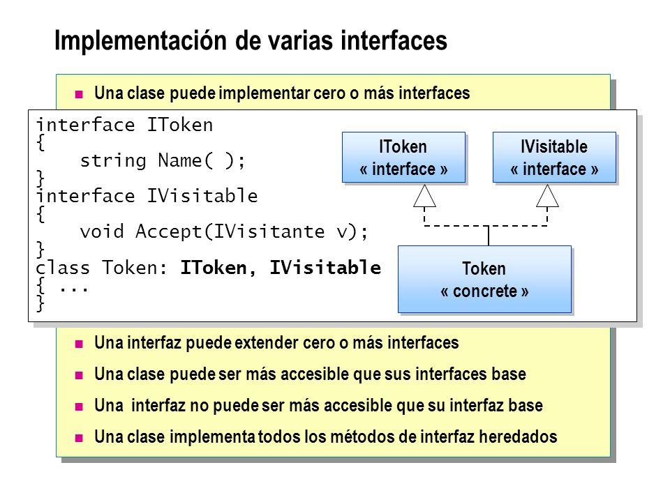 Implementación de varias interfaces Una clase puede implementar cero o más interfaces Una interfaz puede extender cero o más interfaces Una clase pued