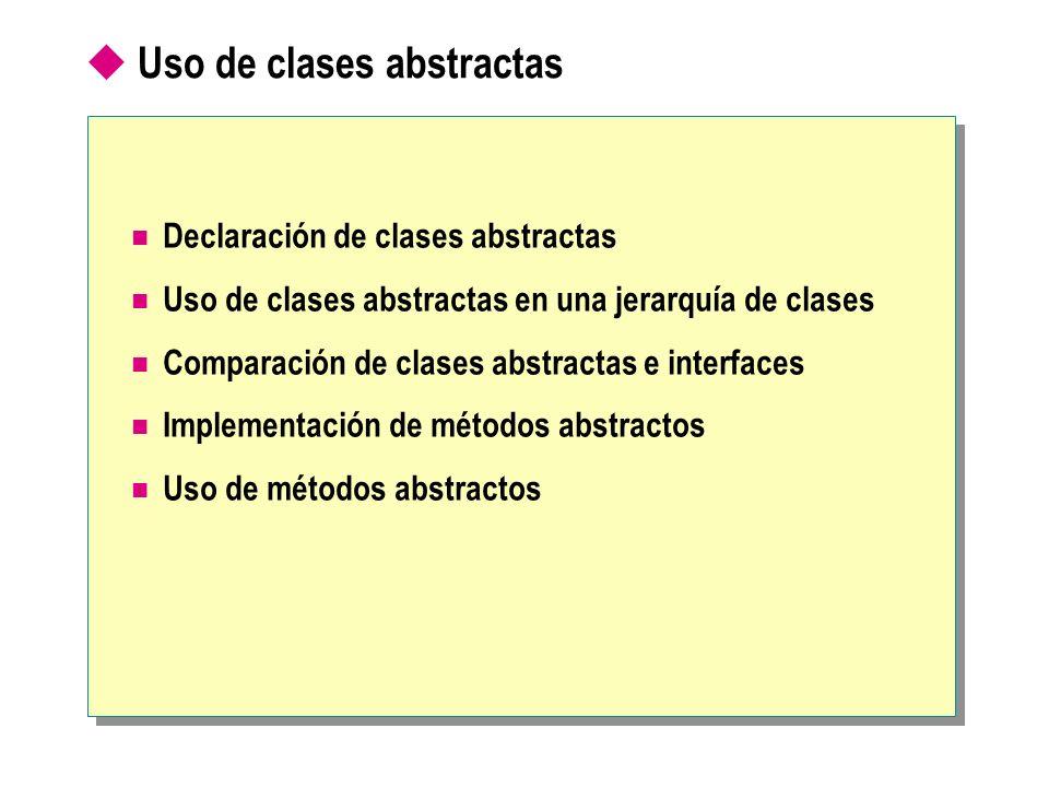 Uso de clases abstractas Declaración de clases abstractas Uso de clases abstractas en una jerarquía de clases Comparación de clases abstractas e inter