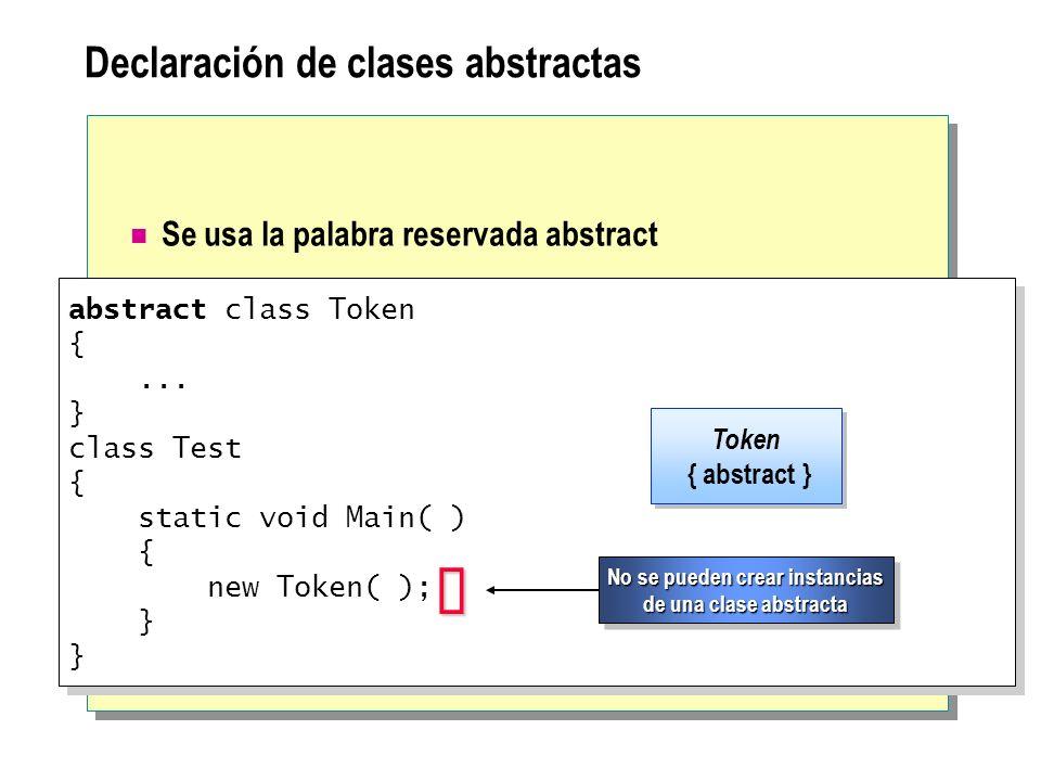 Declaración de clases abstractas Se usa la palabra reservada abstract abstract class Token {... } class Test { static void Main( ) { new Token( ); } a