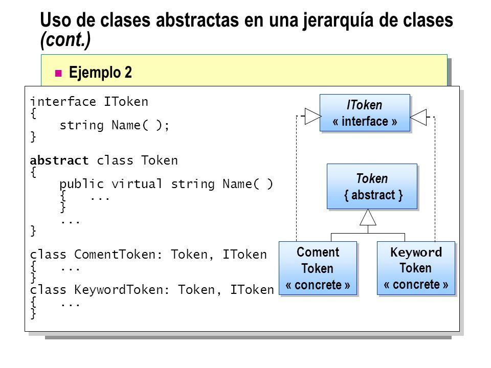 Uso de clases abstractas en una jerarquía de clases (cont.) interface IToken { string Name( ); } abstract class Token { public virtual string Name( )