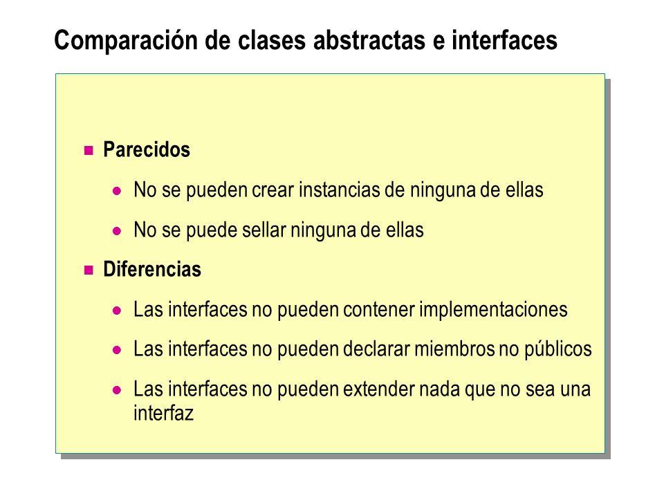 Comparación de clases abstractas e interfaces Parecidos No se pueden crear instancias de ninguna de ellas No se puede sellar ninguna de ellas Diferenc