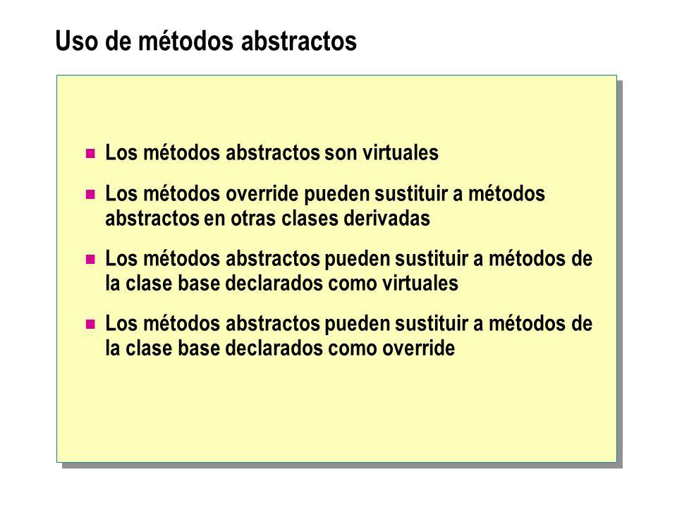Uso de métodos abstractos Los métodos abstractos son virtuales Los métodos override pueden sustituir a métodos abstractos en otras clases derivadas Lo