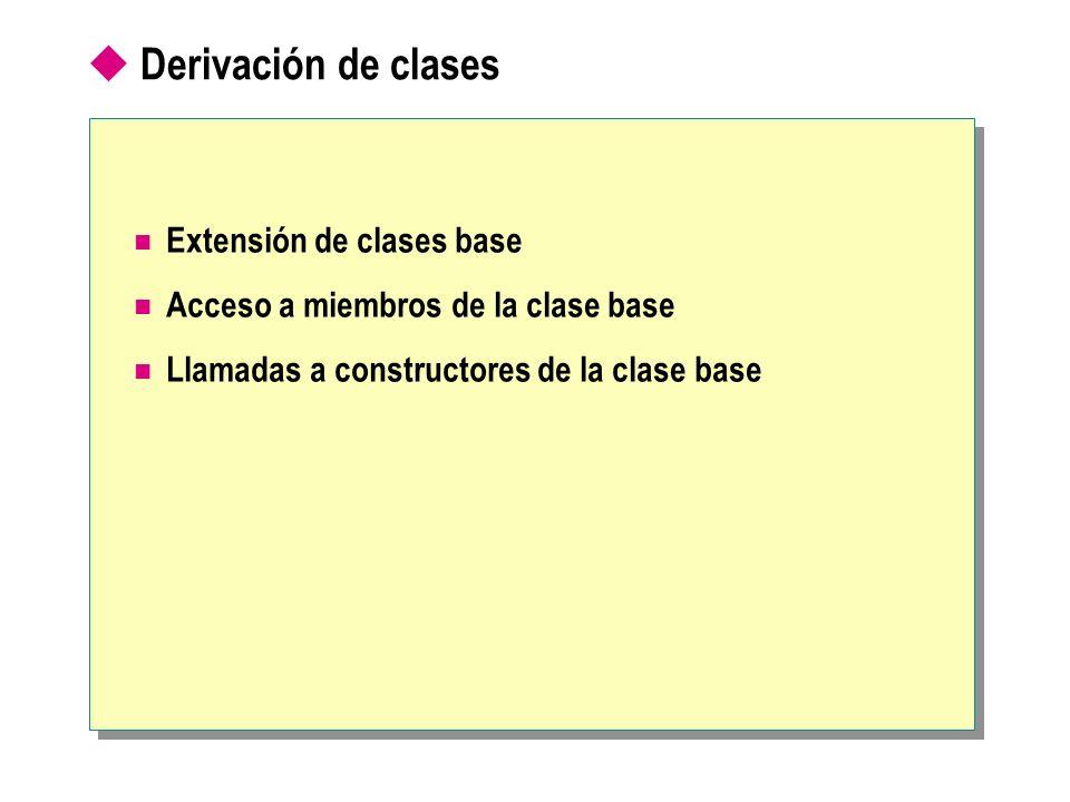 Extensión de clases base Sintaxis para derivar una clase desde una clase base Una clase derivada hereda la mayor parte de los elementos de su clase base Una clase derivada no puede ser más accesible que su clase base class Token {...