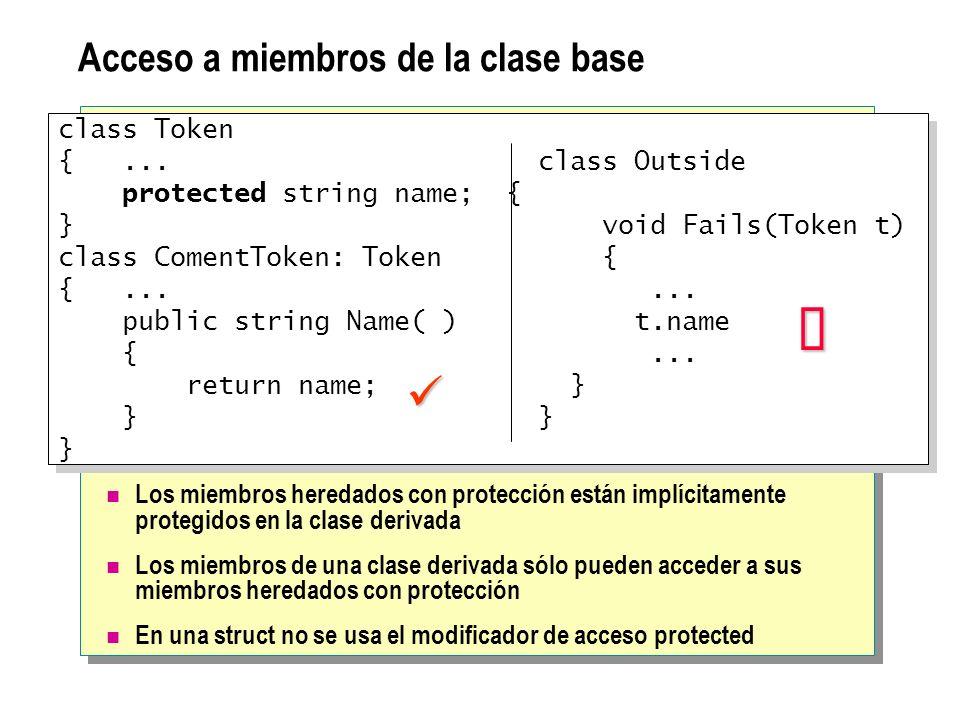 Llamadas a constructores de la clase base Las declaraciones de constructores deben usar la palabra base Una clase derivada no puede acceder a un constructor privado de la clase base Se usa la palabra base para habilitar el ámbito del identificador class Token { protected Token(string name) {...