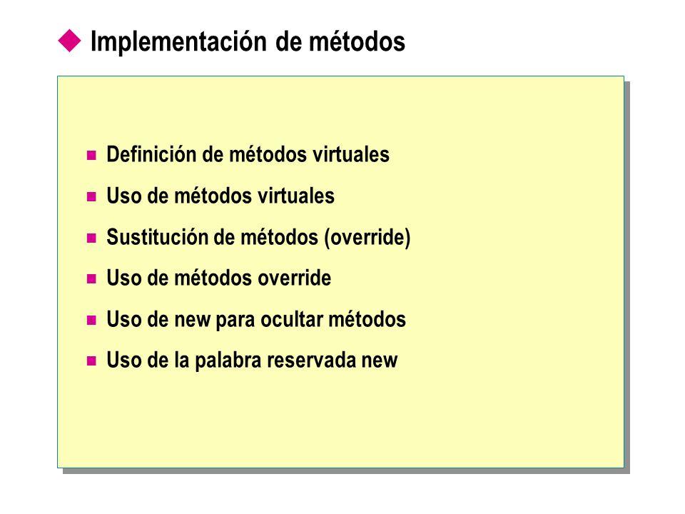 Implementación de métodos de interfaz El método que implementa debe ser igual que el método de interfaz El método que implementa puede ser virtual o no virtual class Token: IToken, IVisitable { public virtual string Name( ) {...