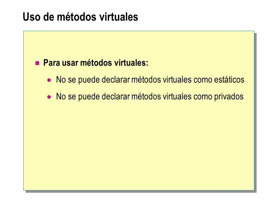 Uso de métodos virtuales Para usar métodos virtuales: No se puede declarar métodos virtuales como estáticos No se puede declarar métodos virtuales com