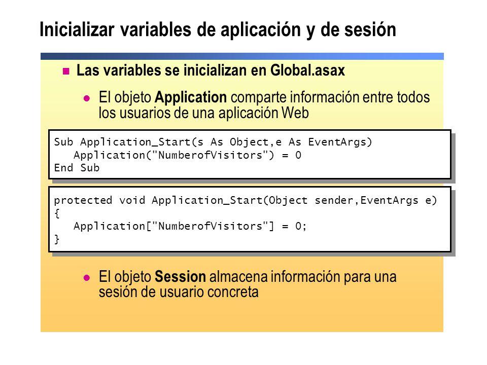 Inicializar variables de aplicación y de sesión Las variables se inicializan en Global.asax El objeto Application comparte información entre todos los